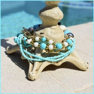 Multilayer Blue Beaded Bracelet